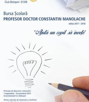 """SOCIALROTARY CLUB BOTOSANI anunta castigatorii Burselor scolare  """"Prof. dr. Constantin Manolache"""" oferite pentru anul scolar anul 2017-2018"""