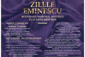 EVENIMENT13 – 15 ianuarie 2018  – ZILELE EMINESCU – ediţia a XLIX-a.  VEZI programul manifestărilor