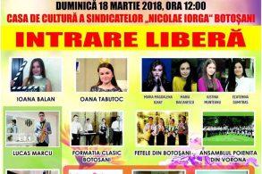 POLITICAConcert gratuit dedicat doamnelor și domnișoarelor  din județul Botoșani